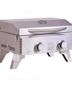 """Giantex Propane TableTop Gas Grill Stainless Steel Two-Burner BBQ, with Foldable Leg, 20000 BTU, Perfect For Camping, Picnics or any Outdoor Use, 22"""" x 18"""" x 15"""""""