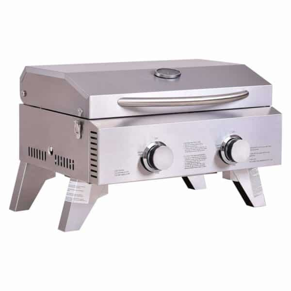 "Giantex Propane TableTop Gas Grill Stainless Steel Two-Burner BBQ, with Foldable Leg, 20000 BTU, Perfect For Camping, Picnics or any Outdoor Use, 22"" x 18"" x 15"""