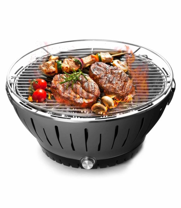 BOLUX Charcoal Barbecue Grill Lotus Outdoor Portable Quick Heat Smokeless BBQ with Transport Bag,Grey