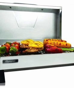 "Camco 57240Olympian 3500-C Stainless Steel Portable Electric Grill by - 1500 Watts of Adjustable Cooking Power, Integrated Folding Legs For Tabletop Use - 145"" (57305)"