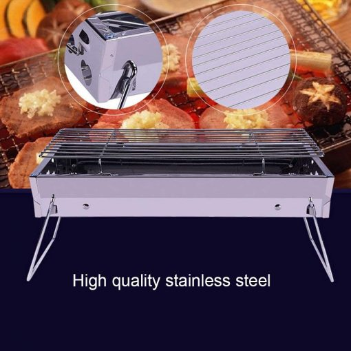 Keebgyy Portable Folding Charcoal BBQ Grill Stainless Steel Stove Set for Indoor Outdoor Campers Picnic Camping Backyard Beach Hiking