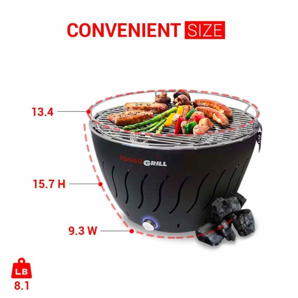 Portable Grill | Smokeless Indoor Grill | Stainless Steel Electric Indoor/Outdoor Charcoal BBQ Grill W/Battery Operated Fan | Perfect for your Barbeque - Includes Travel Bag for Camping & Picnic.