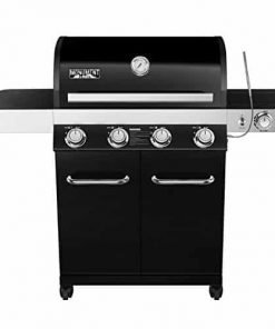 4-Burner Propane Gas Grill, Black,LED Controls,Side Burner,USB Light