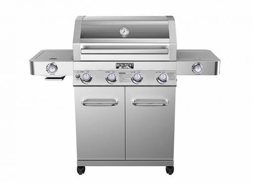 4-Burner Propane Gas Grill,Stainless,ClearView Lid,LED Controls,Side & Sear