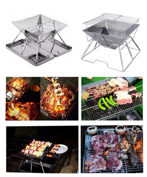 SANNO BBQ Compact Folding Portable Charcoal Barbeque Stainless Steel Grill Carry-on BBQ Grill for Camping, Picnics, Backpacking, Backyards, Survival, Emergency Preparation