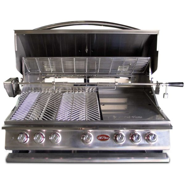 Cal Flame BBQ13P05 BUILT IN GRILL P5 5-BURNER LP,40-inch 304 Stainless Steel,Five(5)15,000 BTU cast Stainless Steel Burners, 93,000 BTU overall, 1,000 sq.in. cooking surface,Interior Lights,Rotisserie, Griddle,Smoke Box