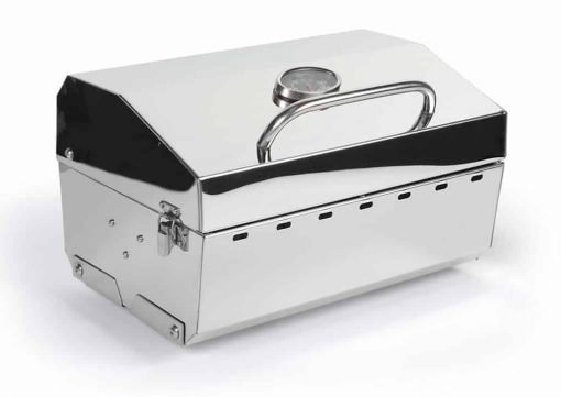 Camco Stainless Steel Portable Propane Gas Grill, Convenient Size For Tailgating, Camping, RV, Picnicking, Home and Boats, Includes Storage Bag (125 Square Inches Of Cooking Surface)