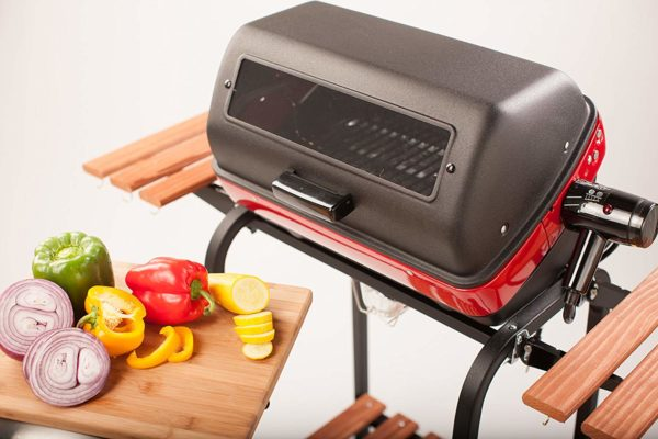 Easy Street Electric Cart Grill with two folding, composite-wood side tables, shelf and rotisserie