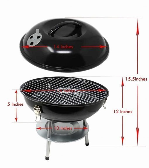 Hub Special Mini Barbecue Portable Charcoal Grill 14in with Steel, Barbecue Toll Sets, BBQ Grilling, Backyard Grill Party Camping, Outdoor Backyard Cooking.(Two colors at random)