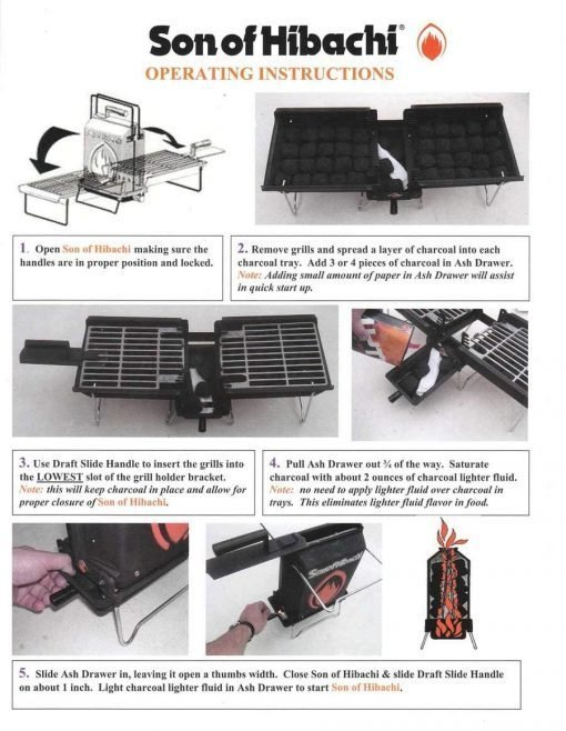 Mr. Flame Son of Hibachi Portable Vintage Cast Iron Charcoal Grill | Self Cleaning/Self Extinguishing | The Ideal Portable Folding Grill (1980's Model)
