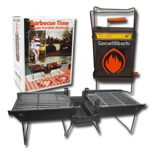 Mr. Flame Son of Hibachi Portable Vintage Cast Iron Charcoal Grill   Self Cleaning/Self Extinguishing   The Ideal Portable Folding Grill (1980's Model)