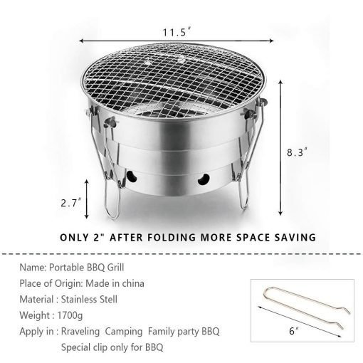 Portable Charcoal Grill - 11in Small Removable Grill - Thick Stainless Steel Charcoal Basin Easy to Assemble and Clean - Outdoor Beach Windproof Barbecue Grill