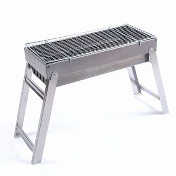 Rerii Barbecue Charcoal Grill, Stainless Steel Folding Tabletop Grill, Portable, Lightweight, Rectangle BBQ Grill Tool for Outdoor Camping Hiking Cooking Picnics
