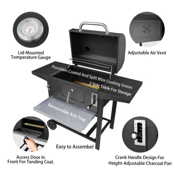 Royal Gourmet 24 Inch Charcoal Grill,BBQ Outdoor Picnic,Patio Backyard Cooking,Black