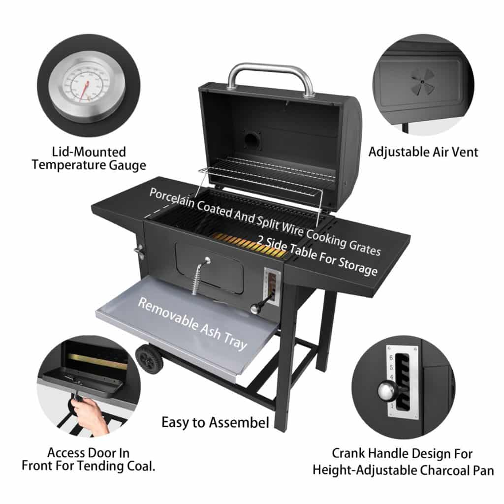 Royal Gourmet 24 Inch Charcoal Grill Bbq Outdoor Picnic Patio Backyard Cooking Black