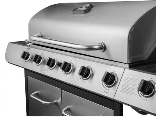Royal Gourmet Classic Stainless Steel 6-Burner Cabinet Gas Grill with Side Sear Burner(Grill + Cover)