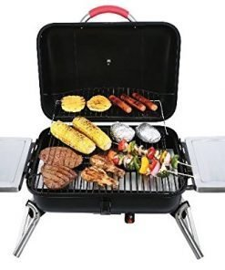 Small Gas Grill Tabletop Portable Outdoor Camping Cooking Patio BBQ Side Shelves