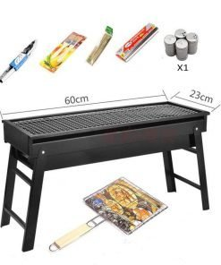 TY&WJ Drawer Portable Charcoal grill,Home garden Barbecue Cookouts Bbq For Camping Hiking Grill-black 60x23cm(24x9inch)