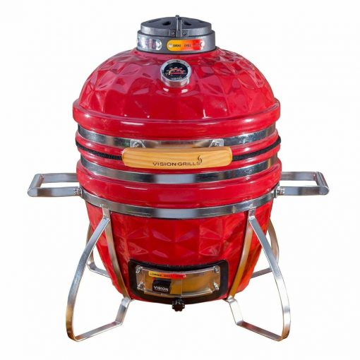 Vision Grills Diamond-Cut Cadet Kamado Grill (Crimson Red)